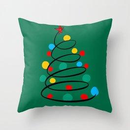 Christmas Tree Minimal Design Art Red Blue Green Throw Pillow