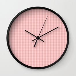 Mini Lush Blush Pink Gingham Check Plaid Wall Clock