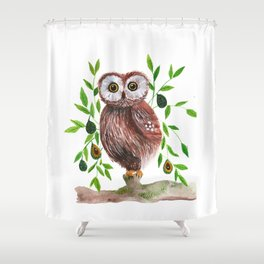 Owl with avocado illustration Shower Curtain