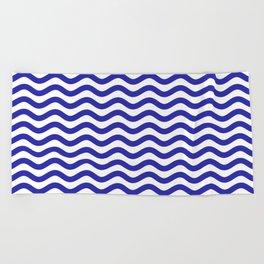 Waves (Navy & White Pattern) Beach Towel