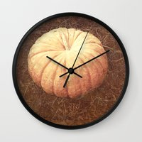 pumpkin Wall Clocks featuring Pumpkin by Yellowstone Photo Studio