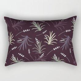 Flowering Grass in Plums and Greens Rectangular Pillow