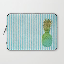 Gold and blue pineapple over blue strips Laptop Sleeve