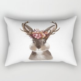 Floral Jackalope Rectangular Pillow