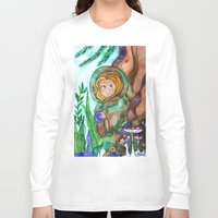 gnome Long Sleeve T-shirts featuring Gnome girl by fairychamber