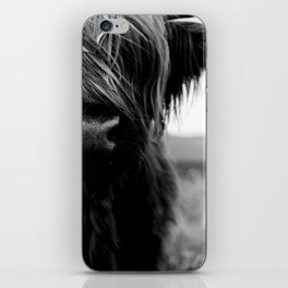 Scottish Highland Cattle Baby - Black and White Animal Photography iPhone Skin