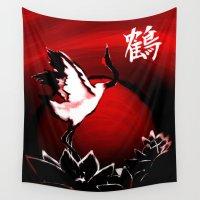crane Wall Tapestries featuring Japanese Crane by Shinja