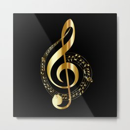 Treble clef surrounded by melody Metal Print