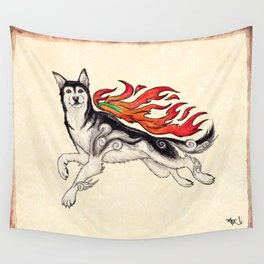 Marukomu Inukami ~ Ōkami inspired husky dog, watercolor & ink, 2015 Wall Tapestry