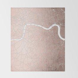 RoseGold on White London Street Map II Throw Blanket