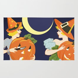 Vintage Halloween Costume Party Pumpkin Carving Rug