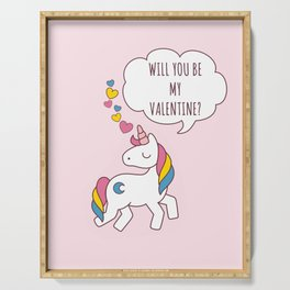 Valentine's Day - Unicorn Be my Valentine Serving Tray