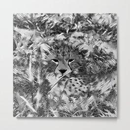 AnimalArtBW_Cheetah_20171001_by_JAMColorsSpecial Metal Print