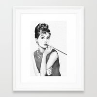 audrey Framed Art Prints featuring Audrey by Olechka
