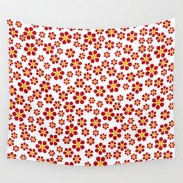 Random Red Flowers Wall Tapestry