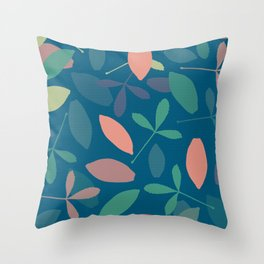 Leaves: Blue Throw Pillow