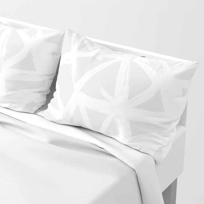 Modern white abstract geometric brushstrokes light grey Pillow Sham