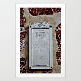 Memorial Tablet Art Print