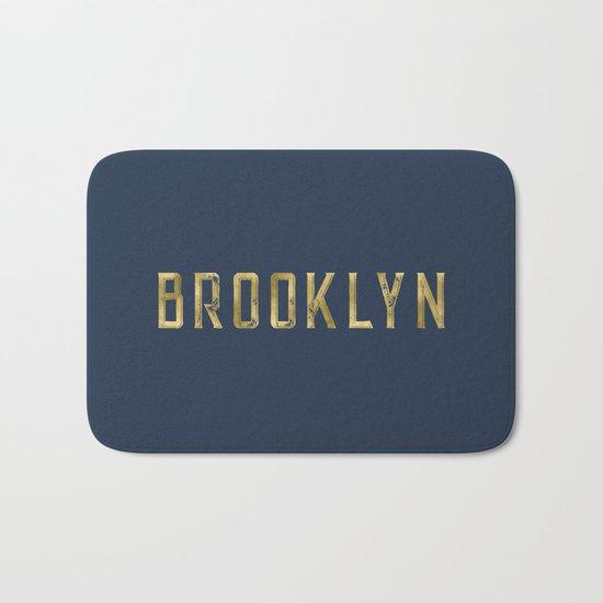 Brooklyn in Gold on Navy Bath Mat
