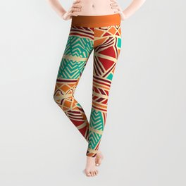 Tribal ethnic geometric pattern 027 Leggings