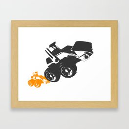 Small Tractor Helping a Big Tractor Framed Art Print