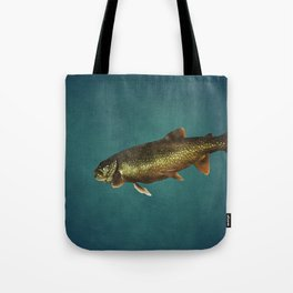 Trout on Teal Blue Tote Bag
