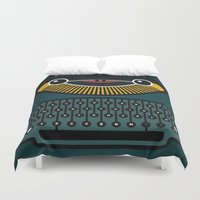 typewriter Duvet Covers featuring typewriter by The Geek Store