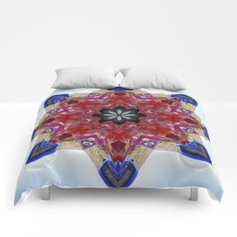 Red and blue classic trucks kaleidoscope Comforters