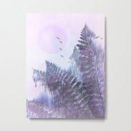 Frozen Fern by the Moon - Glitch Art Metal Print