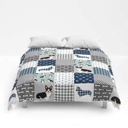 Tricolored Corgi Patchwork - classic buffalo plaid, plaid, dog dad, dog lover, dog design, cute dogs Comforters