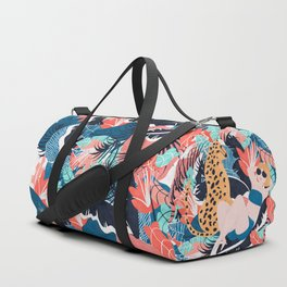Yellow Hair Tropical Girl with Cheetah Duffle Bag