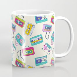 Vintage Cassette Tape Pattern Coffee Mug