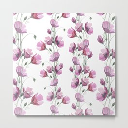 Lavender pink watercolor hand painted floral pattern Metal Print