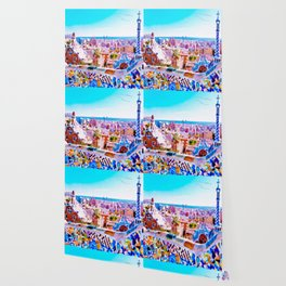 Park Guell Watercolor painting Wallpaper