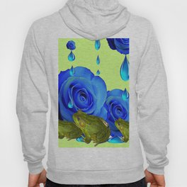 DECORATIVE BLUE SURREAL DRIPPING ROSES & GREEN FROGS Hoody