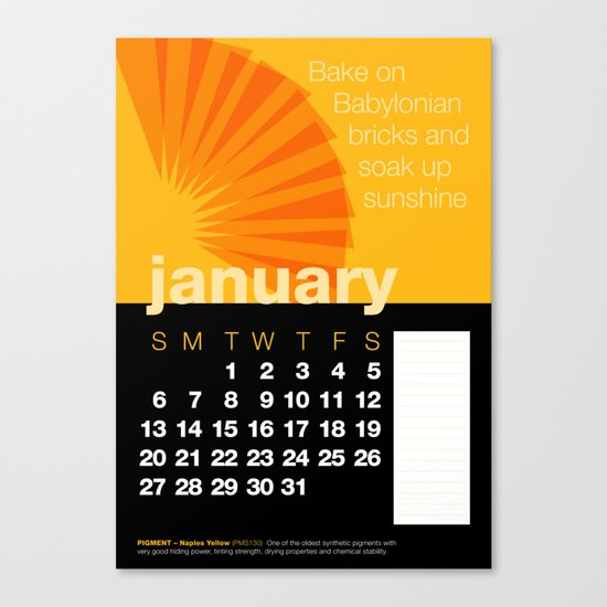 2013 Pigment to Pantone Calendar – JANUARY Canvas Print