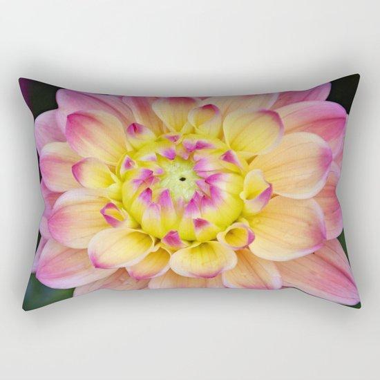 Pink Yellow Dahlia Close up Rectangular Pillow