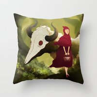 red hood Throw Pillows featuring red hood by R,oh
