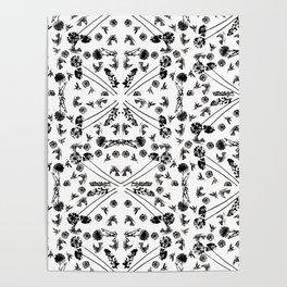Bird & Flower Pattern Poster