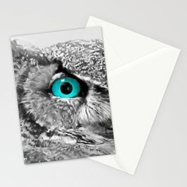Black and White Great Horned Owl w Aqua Eyes A174 Stationery Cards