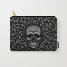 Skull with Floral Pattern Carry-All Pouch