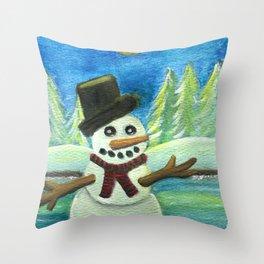 Sun-Kissed Snowman Throw Pillow