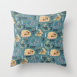 Folk bunnies and cats Throw Pillow