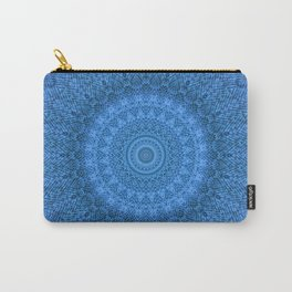 Sunflower Feather Bohemian Cool Blue Pattern \\ Aesthetic Vintage \\ Ice Snow Aqua Color Scheme Carry-All Pouch