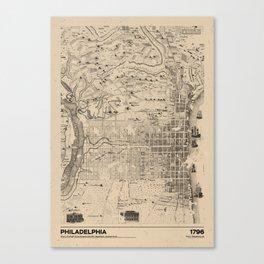 Philadelphia 1796 - Old  Vintage USA Map Canvas Print