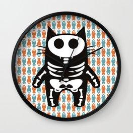 Meow Skeleton Wall Clock