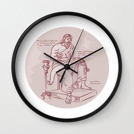 Evangelist Writing Scroll Etching Wall Clock