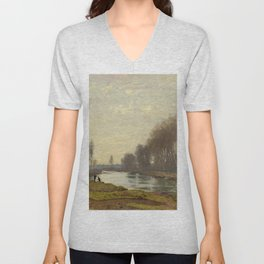 The Petite Bras of the Seine at Argenteuil by Claude Monet Unisex V-Neck