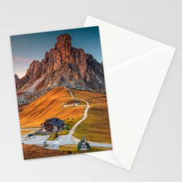 Majestic Sunset and Alpine Mountain Pass Rural Landscape Photograph Stationery Cards