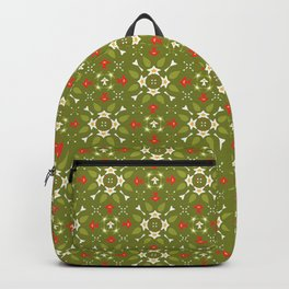 Green and Red Festive Winter Star Ornamental Backpack